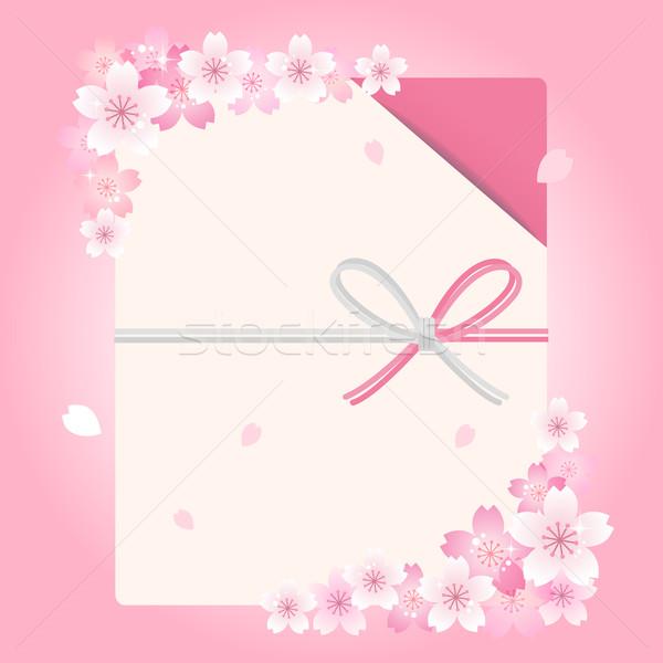 Umschlag Kirschblüten Blumen japanisch traditionellen Datei Stock foto © norwayblue