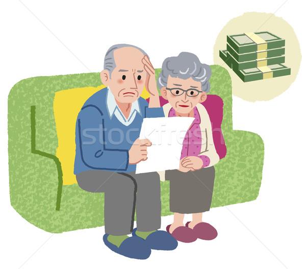 Paar Sitzung Sofa Rechnungen Familie Stock foto © norwayblue