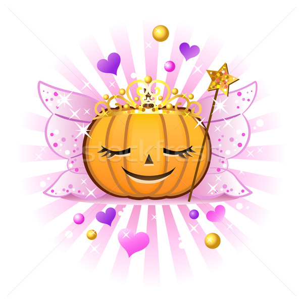 Halloween pumpkin Jack o lantern in fairy princess costume Stock photo © norwayblue