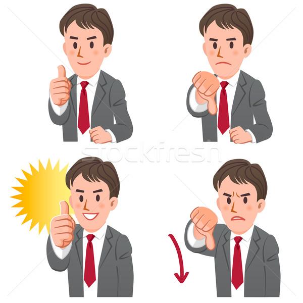 üzletember gesztusok remek lefelé szett kifejez Stock fotó © norwayblue