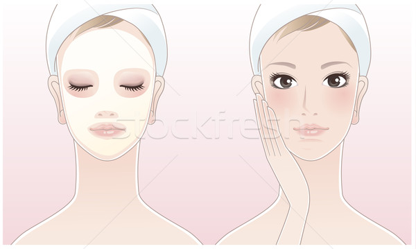 красивой Spa женщину красоту маске прикасаться Сток-фото © norwayblue