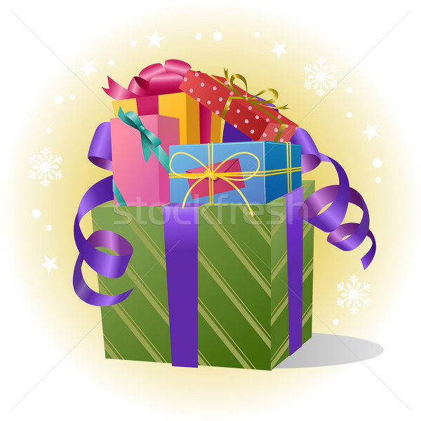 Pile of Gift Boxes with Ribbon Stock photo © norwayblue