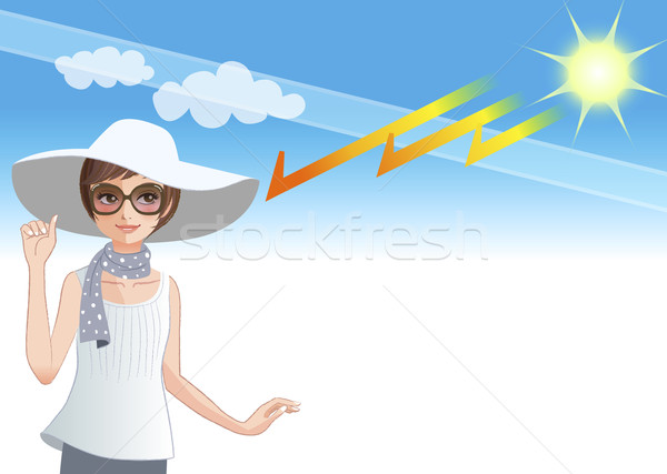 Young woman wearing a wide brimmed hat to protect from sunlight  Stock photo © norwayblue