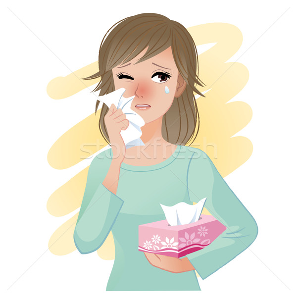 Watery eyed woman holding facial tissue box Stock photo © norwayblue