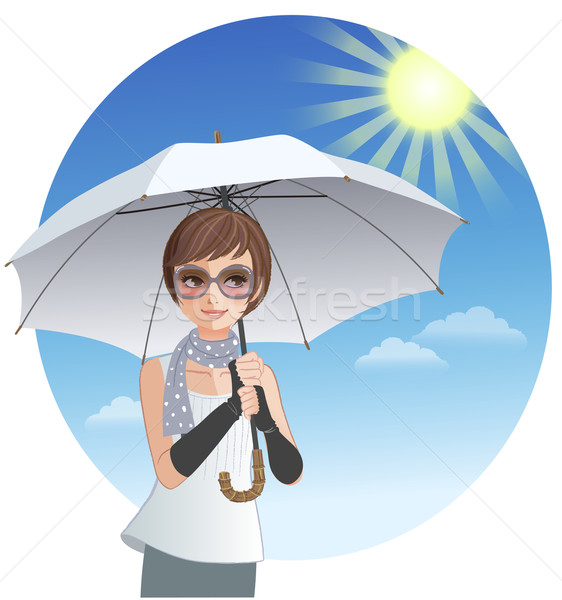 Cute woman holding sunshade umbrella under strong sunlight Stock photo © norwayblue