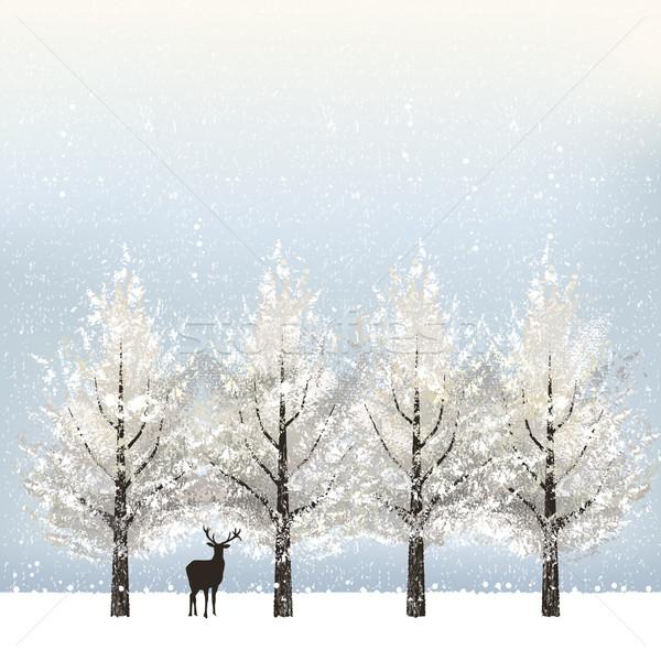 Wakacje drzew renifer zimą pliku gradient Zdjęcia stock © norwayblue