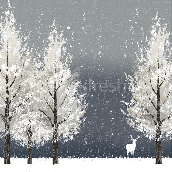 Zimą noc biały drzew renifer pliku Zdjęcia stock © norwayblue