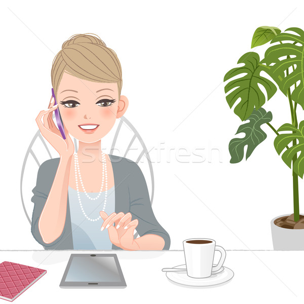 Beautiful executive woman talking on the phone with touch pad Stock photo © norwayblue