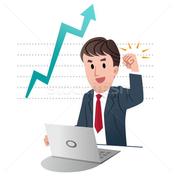 Successful businessman raising fist up in air Stock photo © norwayblue