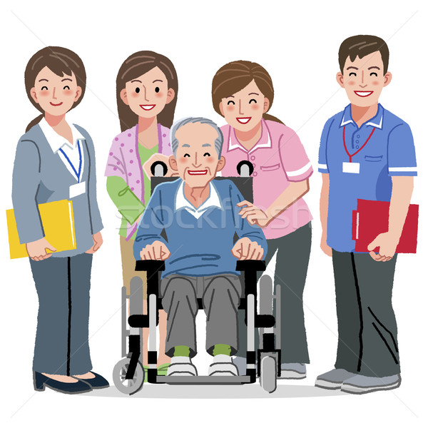 Smiling Senior man in wheelchair and nursing carers Stock photo © norwayblue