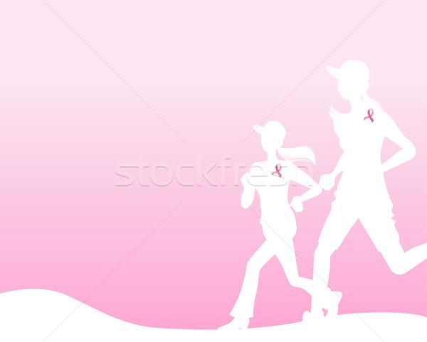 ピンクリボン を実行して 女性 シルエット 丘 画像 ストックフォト © norwayblue