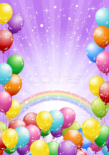 Festival background with balloons and rainbow on purple Stock photo © norwayblue