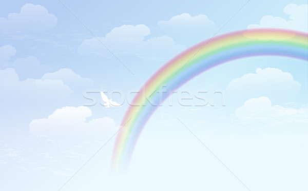 Blue sky background with rainbow and white dove Stock photo © norwayblue