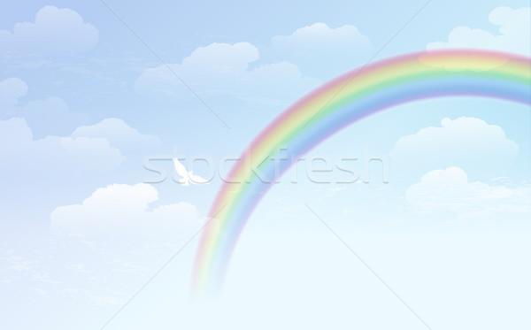Błękitne niebo tęczy biały dove niebieski mętny Zdjęcia stock © norwayblue