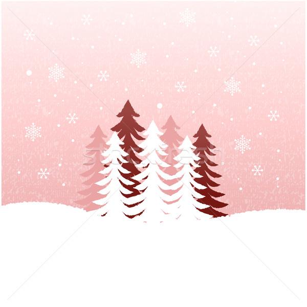 Schnee Landschaft Urlaub fallen Landschaft Tanne Stock foto © norwayblue