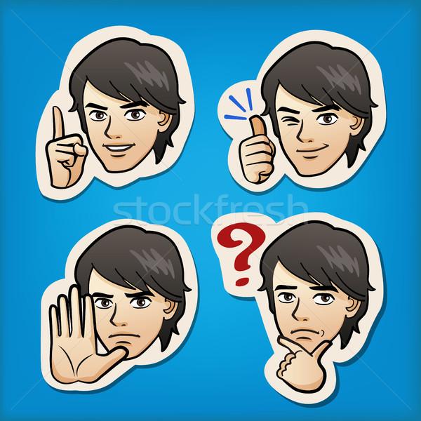 Jóképű férfi különböző arckifejezés rajz kifejez érzelem Stock fotó © norwayblue