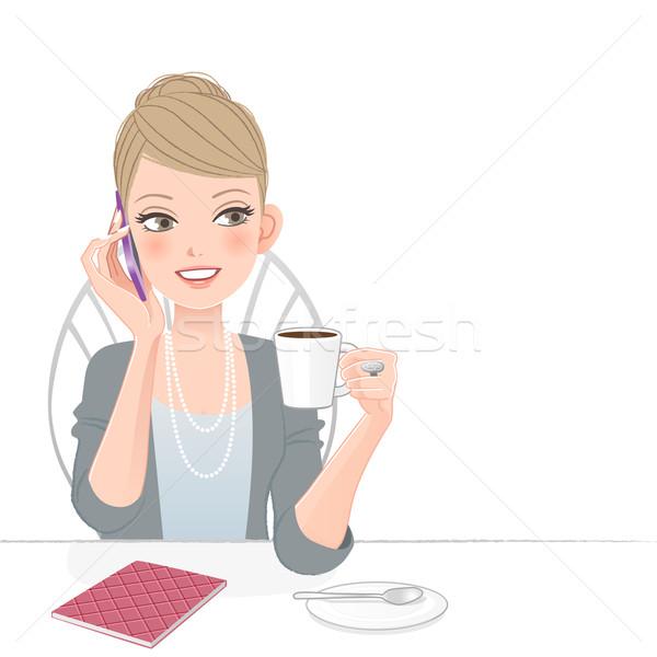 ストックフォト: 美しい · 執行 · 女性 · 話し · 電話 · ビジネス女性