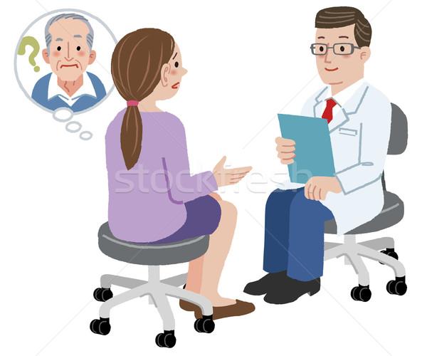 Hija médico salud hablar padre sufrimiento Foto stock © norwayblue