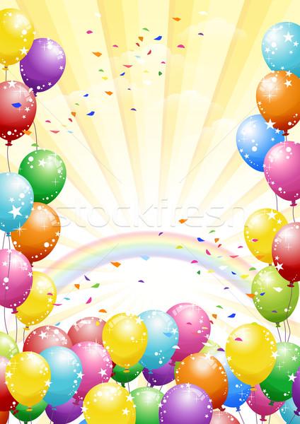 Festival ballonnen Geel kleurrijk confetti viering Stockfoto © norwayblue