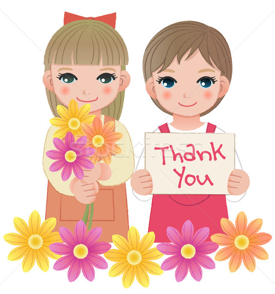 Little girls holding thank you sign and flowers Stock photo © norwayblue