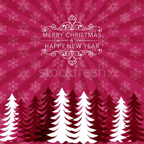 Natale vacanze fiocco di neve pattern albero silhouette Foto d'archivio © norwayblue