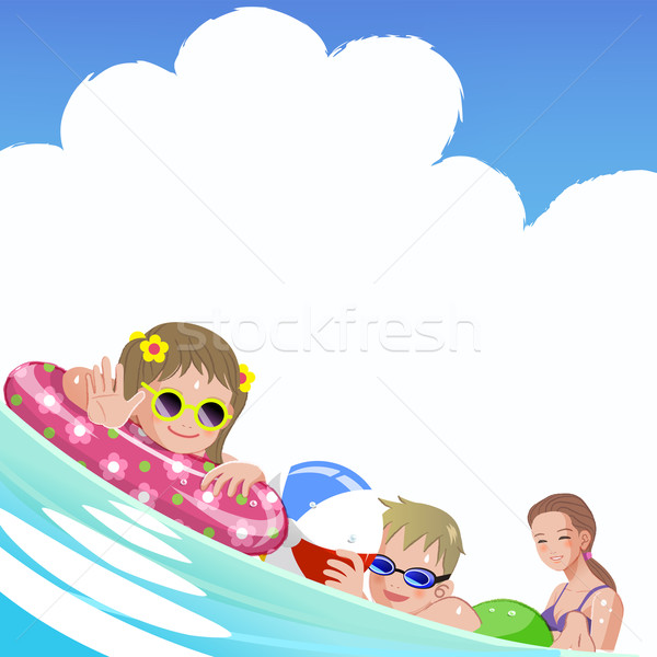 Family with children at sea on summer holiday Stock photo © norwayblue