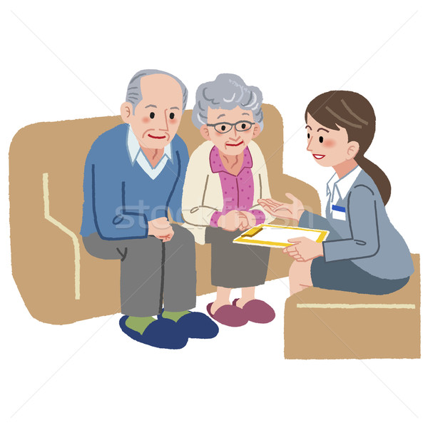 Elderly couple consulting with Geriatric care manager Stock photo © norwayblue