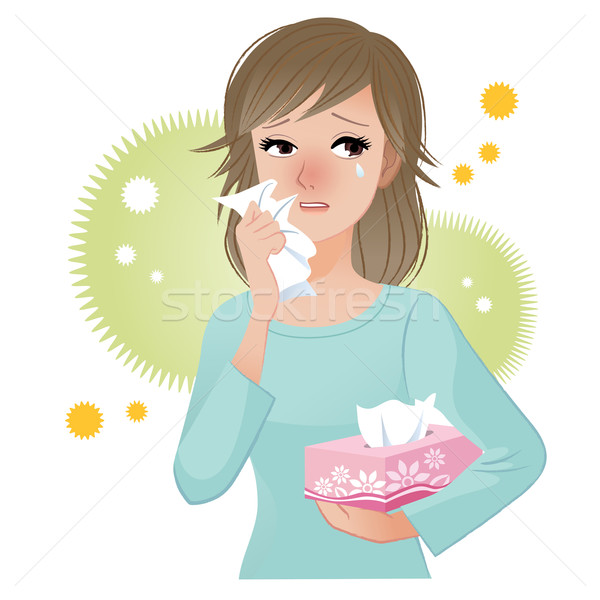 Woman suffering from pollen Allergies Stock photo © norwayblue