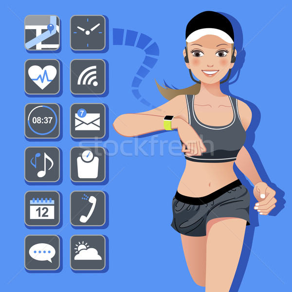 Smart watch concept - sport woman and icons Stock photo © norwayblue