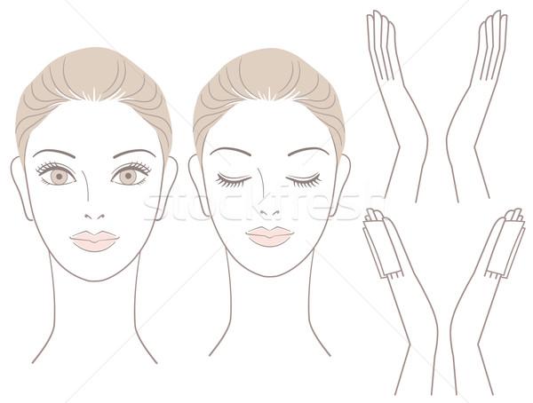 Zestaw piękna kobieta głowie ręce bawełny siedziba Zdjęcia stock © norwayblue