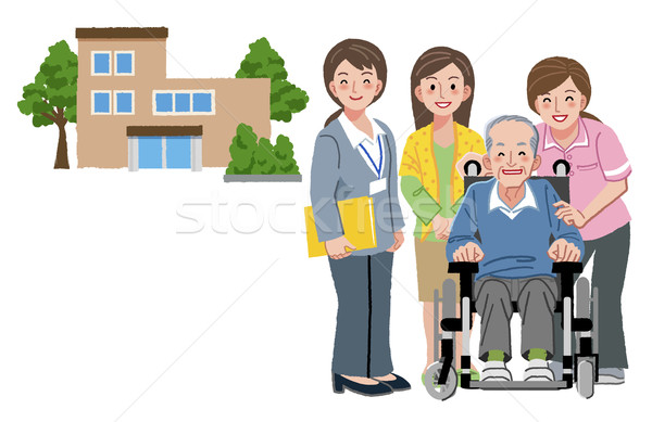 Smiling senior man in wheelchair with his daughter caregivers Stock photo © norwayblue
