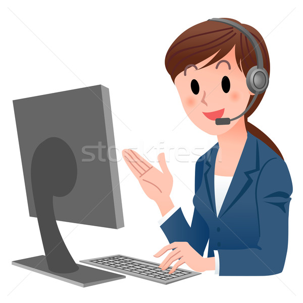 Customer service representative at computer in headset Stock photo © norwayblue