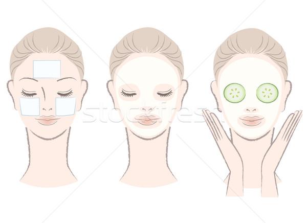 Set elegante bella donna faccia maschera argilla Foto d'archivio © norwayblue