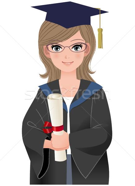 Cute женщины выпускник академический платье счастливым Сток-фото © norwayblue