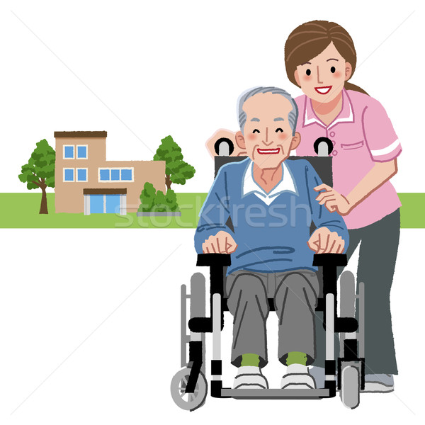 Portraits of smiling senior man in wheelchair and caregiver Stock photo © norwayblue