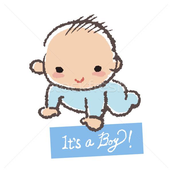 Baby Dusche Junge lächelnd halten Karte Stock foto © norwayblue