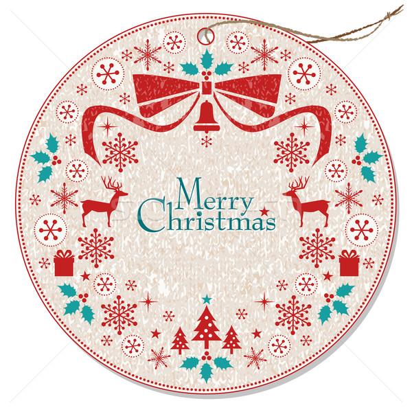 Christmas wieniec tag kolekcja wakacje Zdjęcia stock © norwayblue