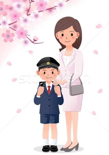 матери сын школы церемония Cherry Blossom сезон Сток-фото © norwayblue