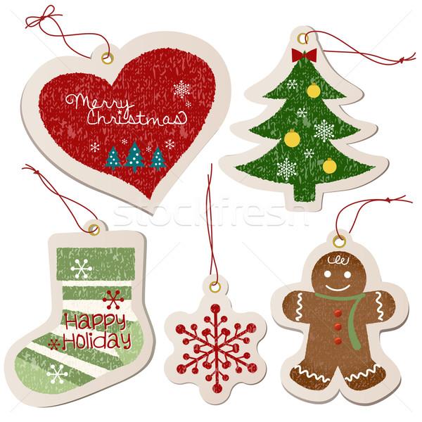 Рождества орнамент тег коллекция формы сердца Сток-фото © norwayblue