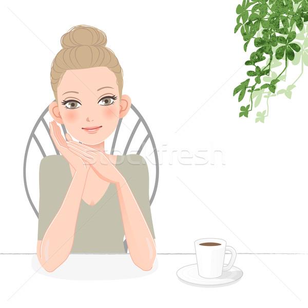 довольно расслабляющая кофе улыбаясь Сток-фото © norwayblue