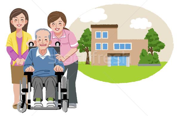Heureux âgées homme fauteuil roulant famille infirmière Photo stock © norwayblue