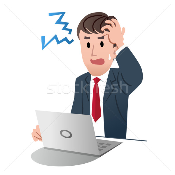 Frustrated businessman holding his head with left hand Stock photo © norwayblue