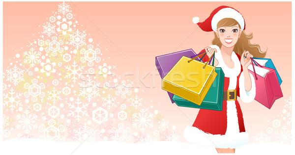 Santa Girl with shopping bags on snowflake tree Stock photo © norwayblue