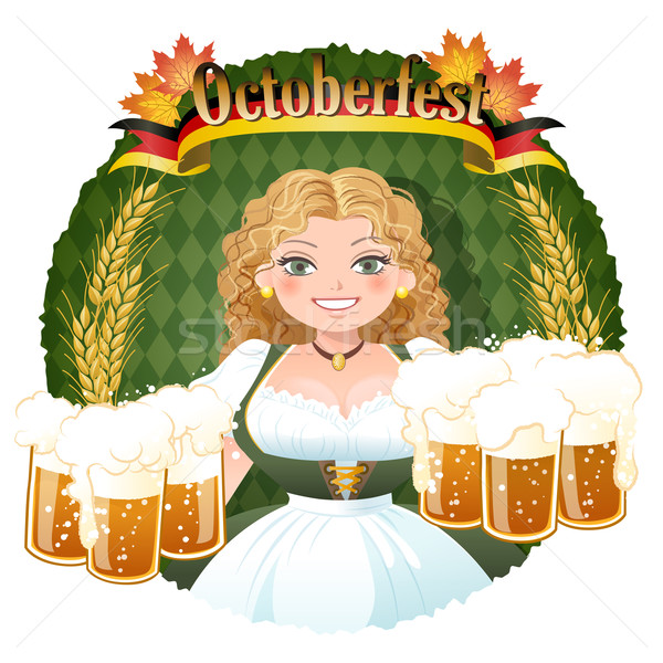 Bavarian Girl serving beer -  October fest Stock photo © norwayblue