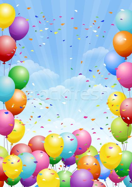фестиваля шаров красочный конфетти празднования небе Сток-фото © norwayblue
