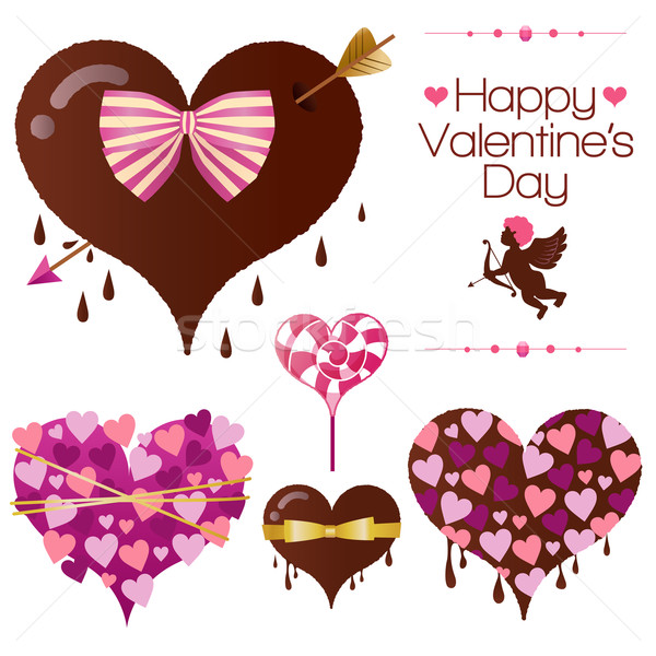 Set san valentino cuore candy san valentino eps10 Foto d'archivio © norwayblue