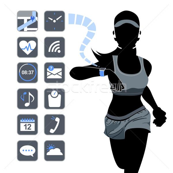 Smart Фитнес-женщины Смотреть здорового силуэта Сток-фото © norwayblue