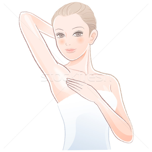 Portrait of Beautiful woman touching her underarm. Stock photo © norwayblue