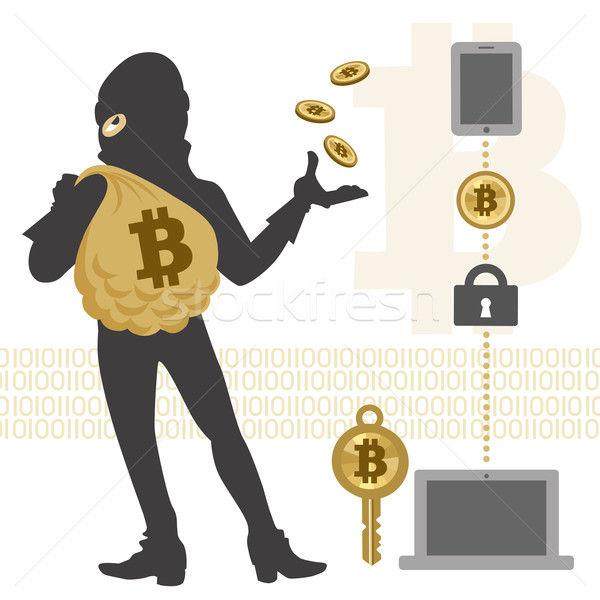 Bitcoin hacker and transaction Stock photo © norwayblue