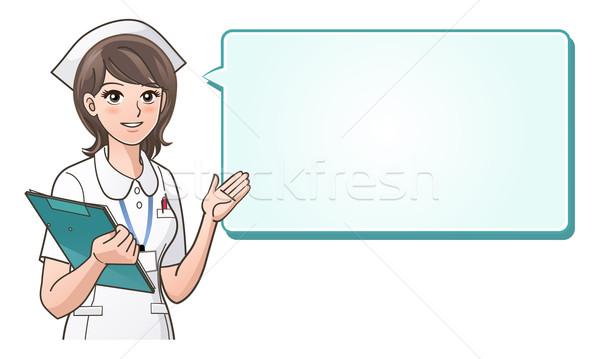 Young cute nurse providing information on a speech bubble Stock photo © norwayblue